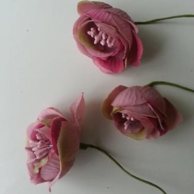 fleurs artificielles en tissu et pistils vieux rose  sur tige lot de 3