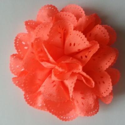 fleur dentelée en tissu  orange  80mm