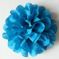 fleur dentelée en tissu bleu turquoise  80mm