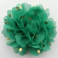 fleur en mousseline à pois doré vert 10cm