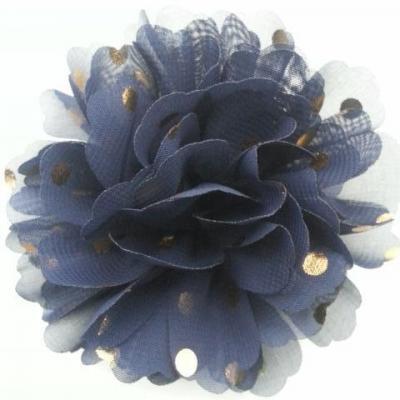 fleur en mousseline à pois doré bleu marine 10cm