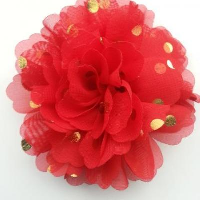 fleur en mousseline à pois doré rouge 10cm