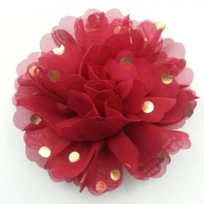 fleur en mousseline à pois doré bordeaux 10cm