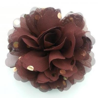 fleur en mousseline à pois doré marron 10cm