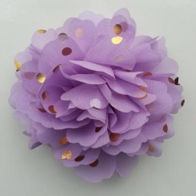 fleur en mousseline à pois doré mauve 10cm