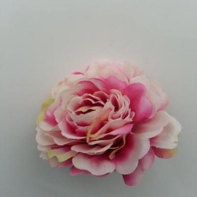 fleur artificielle en tissu ivoire et rose fuchsia 55mm