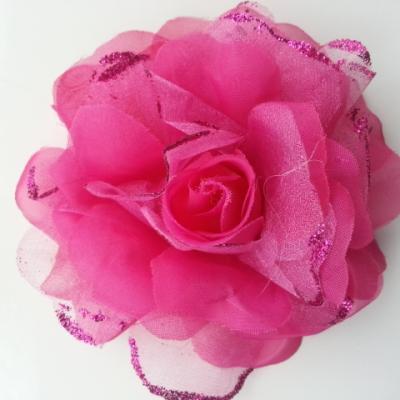 fleur artificielle en tissu  pailletée 10cm rose fuchsia
