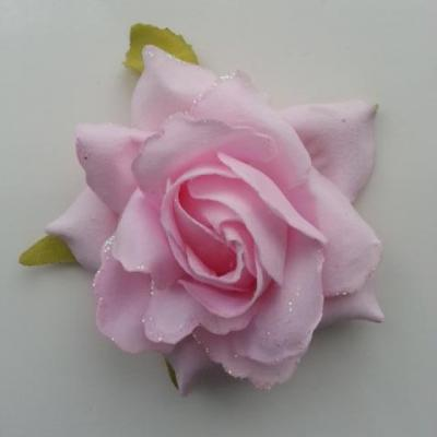 rose artificielle en tissu pailleté rose   80mm