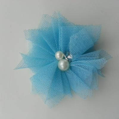 Applique tulle perle et strass 55mm bleu