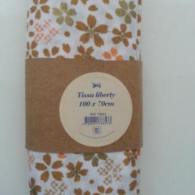 Coupon de  tissu coton liberty motif fleurs beige er marron 100*70 cm
