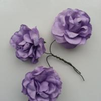 lot de 3 roses en papier mauve sur tige 40mm