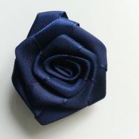 Fleur de satin plate  50mm bleu marine