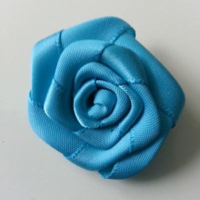 Fleur de satin plate  50mm bleu