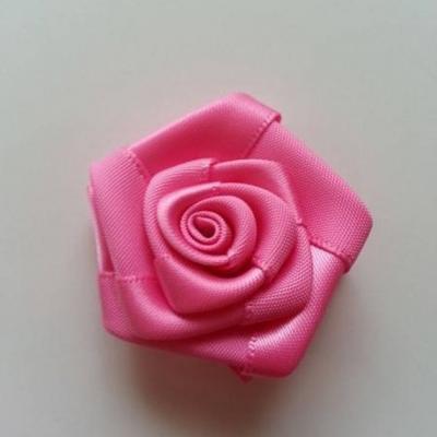 Fleur de satin plate  50mm rose bonbon