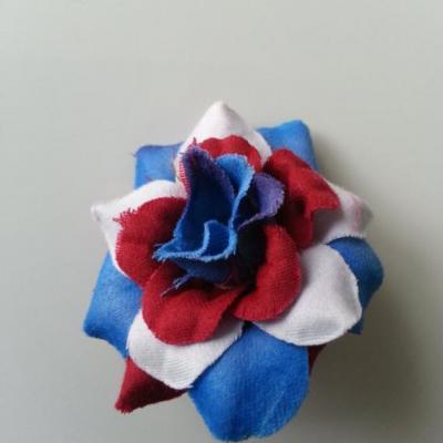Fleur  en tissu  50mm multicolore bleu blanc rouge
