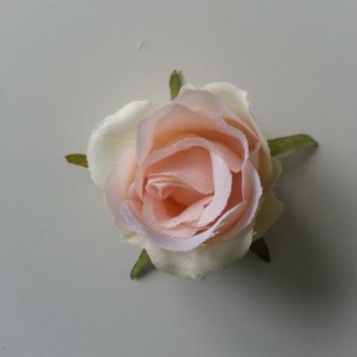 rose artificielle en tissu ivoire et rose peche 40mm