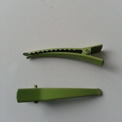 lot de 2 barrettes crocodile en métal 45mm vert