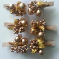 lot de 6 epingles à lingle décor or, doré pour décoration de table 40mm
