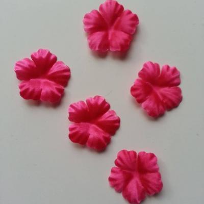 Lot de 5 fleurs en tissu  30mm rose fuchsia