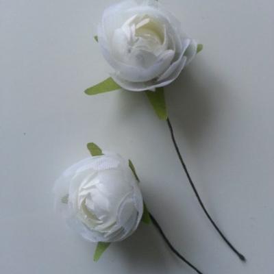 lot de 2 fleurs artificielles en tissu ivoire 30mm