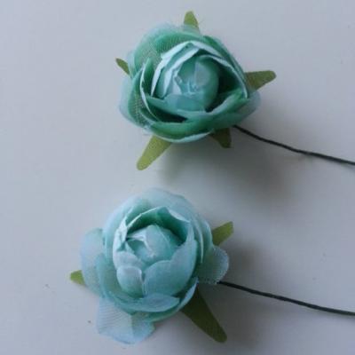 lot de 2 fleurs artificielles en tissu vert 30mm