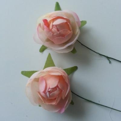 lot de 2 fleurs artificielles en tissu peche 30mm