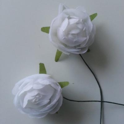 lot de 2 fleurs artificielles en tissu blanc 30mm