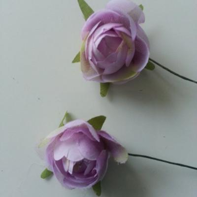 lot de 2 fleurs artificielles en tissu mauve 30mm