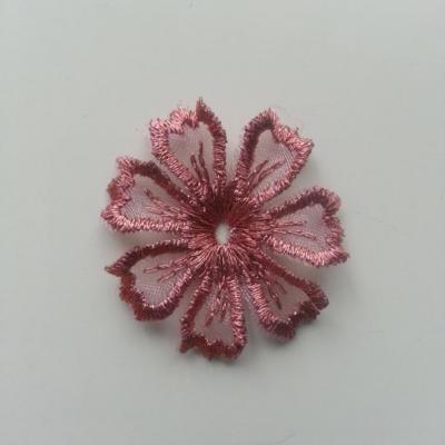 fleur en dentelle irisé 35mm rose cuivré