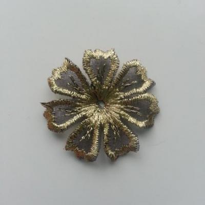 fleur en dentelle irisé 35mm noire et doré