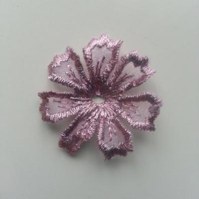 fleur en dentelle irisé 35mm vieux rose