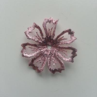 fleur en dentelle irisé 35mm rose