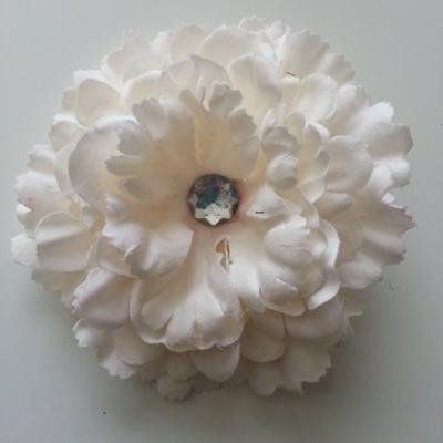 Grande fleur en tissu 110mm avec strass ivoire