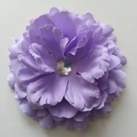 Grande fleur en tissu 110mm avec strass mauve