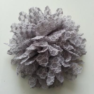 Applique fleur gauffrée  gris 85mm