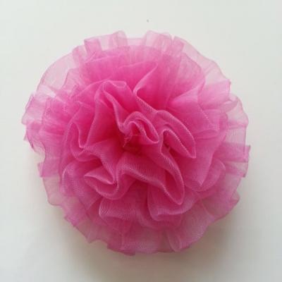 fleur pompon en organza 80mm rose