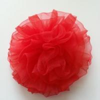 fleur pompon en organza 80mm rouge