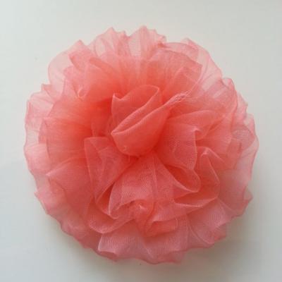 fleur pompon en organza 80mm saumon