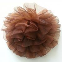 fleur pompon en organza 80mm marron