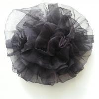 fleur pompon en organza 80mm noir