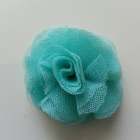 Rosette  fleur   tulle   50mm vert