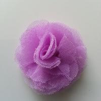 Rosette  fleur   tulle   50mm mauve