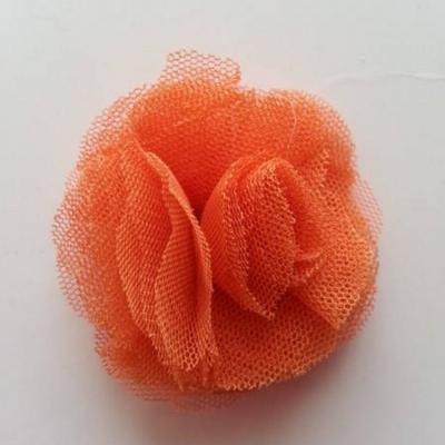 Rosette  fleur   tulle   50mm orange