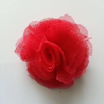 Rosette  fleur   tulle   50mm rouge