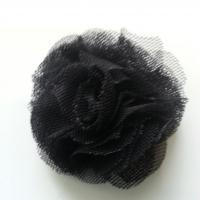 Rosette  fleur   tulle   50mm noir