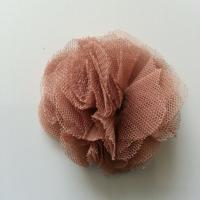 Rosette  fleur   tulle   50mm marron