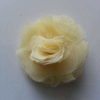 Rosette  fleur   tulle   50mm jaune