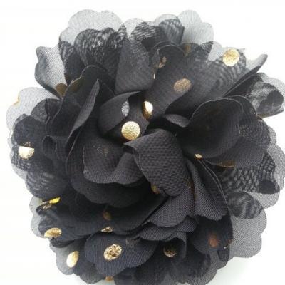 fleur en mousseline à pois doré noir 10cm