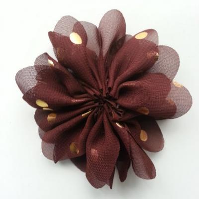 Applique fleur  à pois doré  marron 80mm