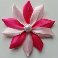 Fleur de satin bicolore 7,5cm rose et rose fuchsia
